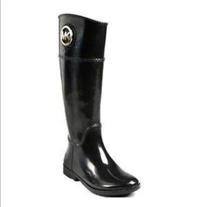 *MICHAEL KORS* black rain boots (tall) size 6